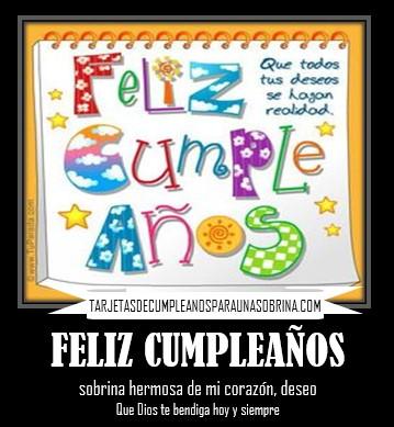 feliz cumpleaños sobrina Dios te bendiga