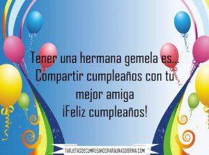 imágenes de feliz cumpleaños para hermanas Gemelas