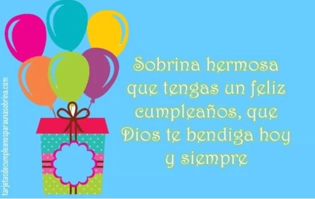 Feliz cumpleaños sobrina hermosa Dios te bendiga