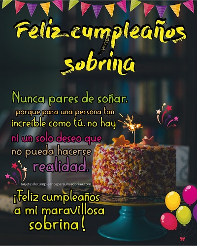 feliz dia de tu cumpleaños sobrina