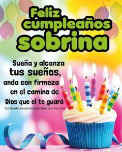 tarjeta de cumpleaños para una sobrina de pastel con velas