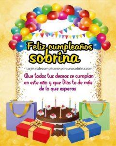 tarjeta de cumpleaños con globos y regalos