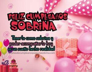 tarjeta de cumpleaños para una sobrina especial con regalos