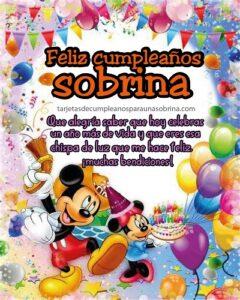 tarjeta de cumpleaños con globos y mickey mouse
