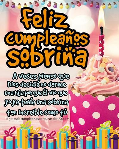 mensaje de feliz cumpleaños sobrina pastel y velas