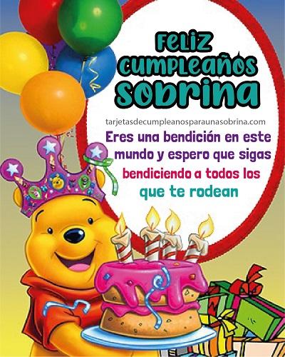 tarjeta de felicitaciones por cumpleaños sobrina fiesta winni poo