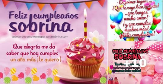 mensajes de cumpleaños con globos y pastel