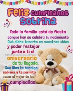 mensaje de cumpleaños con oso de peluche