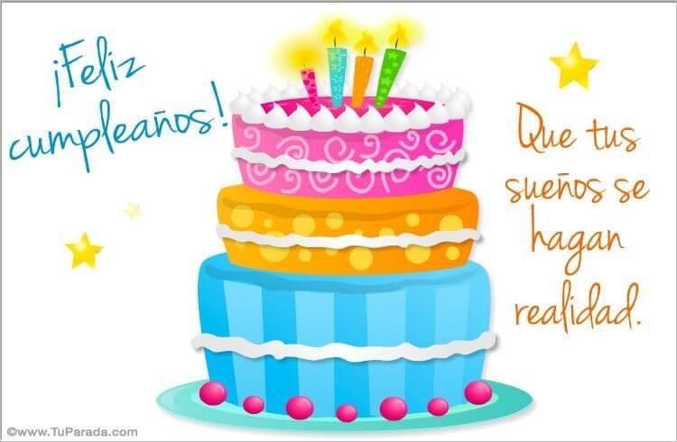 tarjetas de feliz cumpleaños pastel con frase